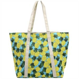 Pineapple Printed Canvas Beach Tote